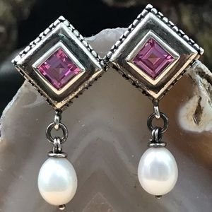 Michael Dawkins Silver Pearl Amethyst Earrings
